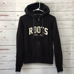 Roots Canada zip up cozy hooded sweatshirt